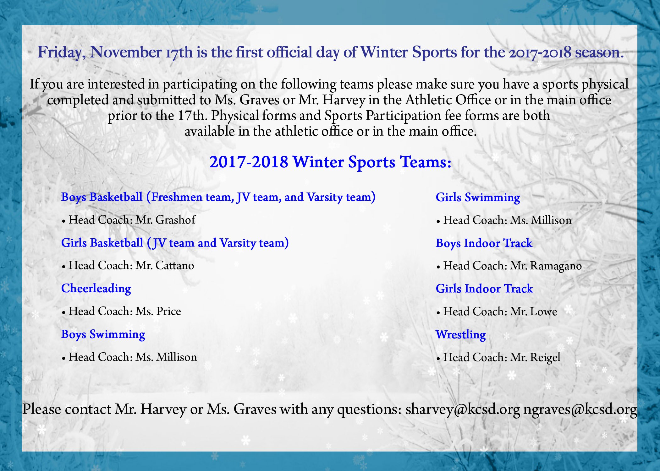 Winter Sports Team Coach List